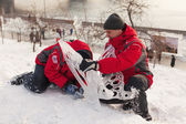 "Festival ""Magic ice of Siberia"", Participants create sculptures — Stock Photo"