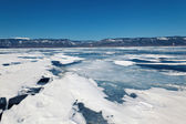 Winter ice road through Baikal — Stock Photo