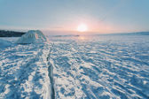 Sunrise on winter Baikal — Stock Photo