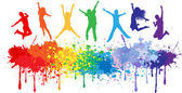 Colorful bright ink splashes and kids jumping — Stock Vector