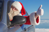Portrait of Santa Claus in the car — Stock Photo