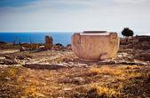 Büyük korunmuş antik yunan taş sürahi limassol, kıbrıs — Stok fotoğraf