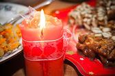 Beautiful Burning Red Christmas Candle — Stock Photo