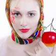 Russian girl in a headscarf — Stock Photo