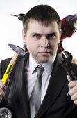 Man met hulpmiddelen — Stockfoto