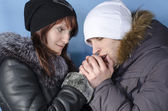 Young couple in winter clothing — Stock Photo