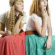 Two girls in retro style — Stock Photo