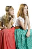 Two girls in retro style — Stok fotoğraf