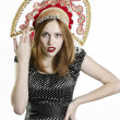 Girl with Kokoshnik — Stockfoto