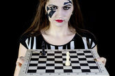 Girl with chess — Stock Photo