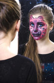 Girl in a pink panther makeup — Stock Photo