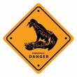 Illustration of crocodile danger sign — Stock Vector