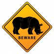 Rhino Warning Symbol — Stock Vector