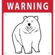 Bear Warning Sign — Stock Vector