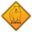 Bear Beware Sign — Stock Vector