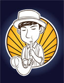Illustration of saxophone player — Vector de stock