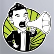 Businessman with megaphone — Stock Vector