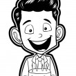 Illustration of boy with birthday cake — Stock Vector