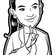 Illustration of Businesswoman Thinking — Imagen vectorial
