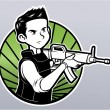 Illustration of Young boy with machine-gun — Stock Vector #35294013