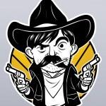 Cowboy with guns — Stock Vector