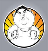Illustration of fat man — Stock Vector