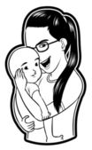 Ilustración de mujer con bebé — Vector de stock