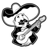 Illustratie van gelukkig gitarist — Stockvector