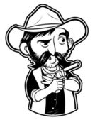 Black and white clipart cowboy with gun — Stock Vector