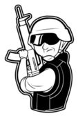 Black and white clipart soldier — Stock Vector