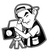 Black and white clipart videographer — Stock Vector