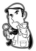 Black and white clipart detective — Stock Vector
