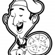 Illustration of pizza chef — Stock Vector