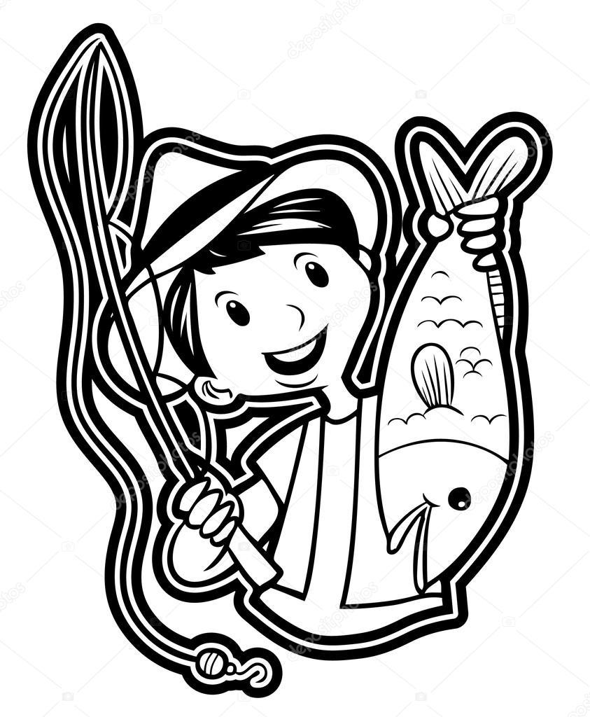 钓鱼的人的插图 — 图库矢量图像08
