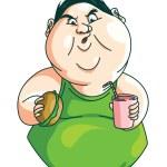 Fat Man eating — Stock Vector