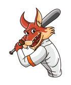 Illustration of wolf playing Baseball — Stock Vector