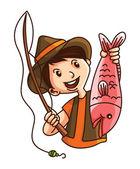 Illustration of man fishing — Stock Vector
