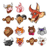 Big set Animal Funny Head — Vetorial Stock