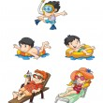 vacaciones de los niños en la playa — Vector de stock  #50836375