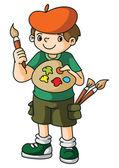 Painter Artist Kid — Stock Vector