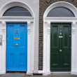 Colored door in Dublin from Georgian times (18th century) - Stock Photo