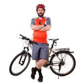 Bearded Mountain Biker Serious (isolated) — Stock Photo