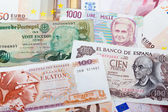 Former Greek, Spanish, Italian and Portugues currency — Stok fotoğraf