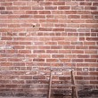 Red brick wall and ladder — Stock Photo