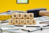 Letter Dices Concept: Werkzeuge (German) — ストック写真
