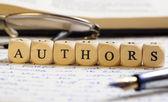 Letter Dices Concept: Authors — Fotografia Stock