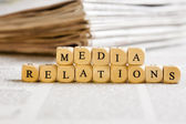 Letter Dices Concept: Media Relations — Stock Photo