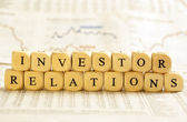 Letter Dices Concept: Investor Relations — Stock Photo