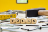 Letter Dices Concept: Tools — Stock Photo