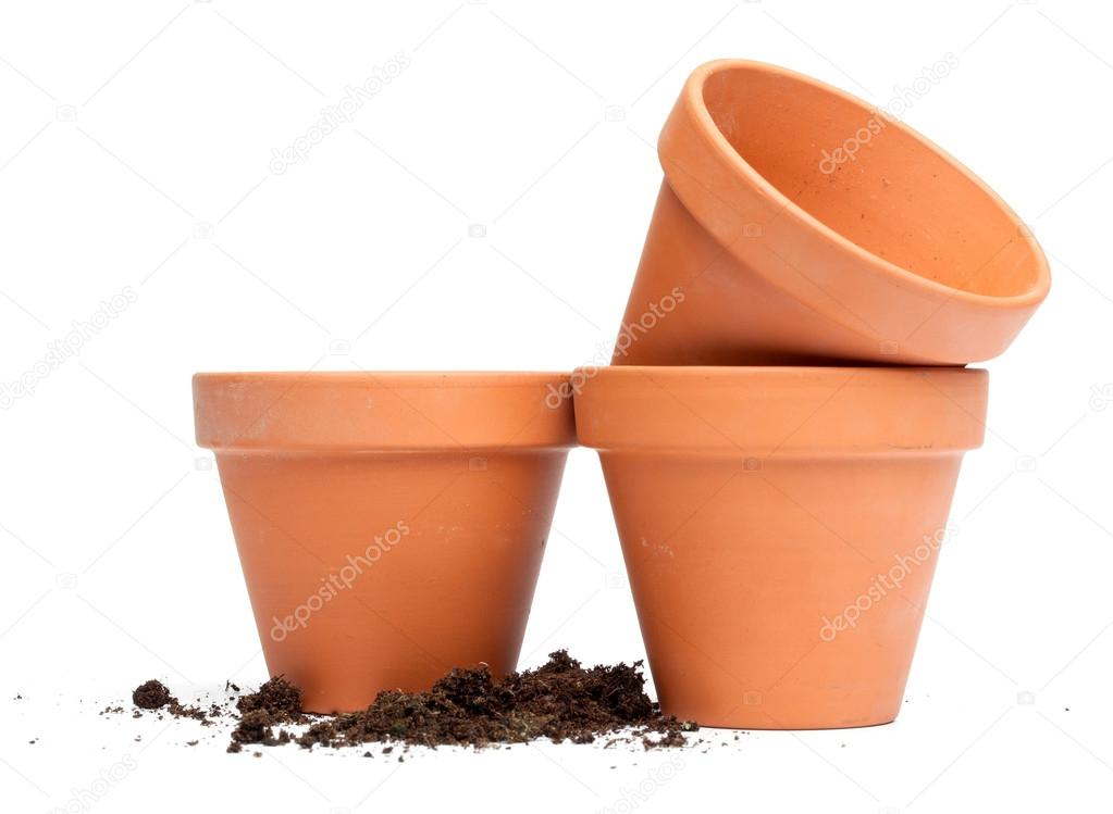 Clay flower pots stock photo michaeljayfoto 21809659 for Small clay flower pots